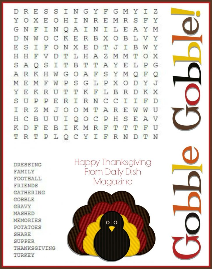 Printable Thanksgiving Word Search For Adults
