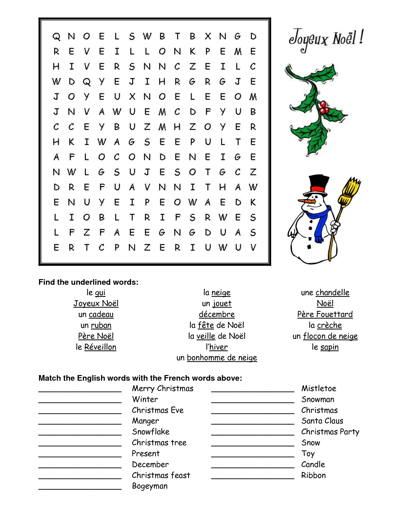 French Christmas Word Search - Google Search | French