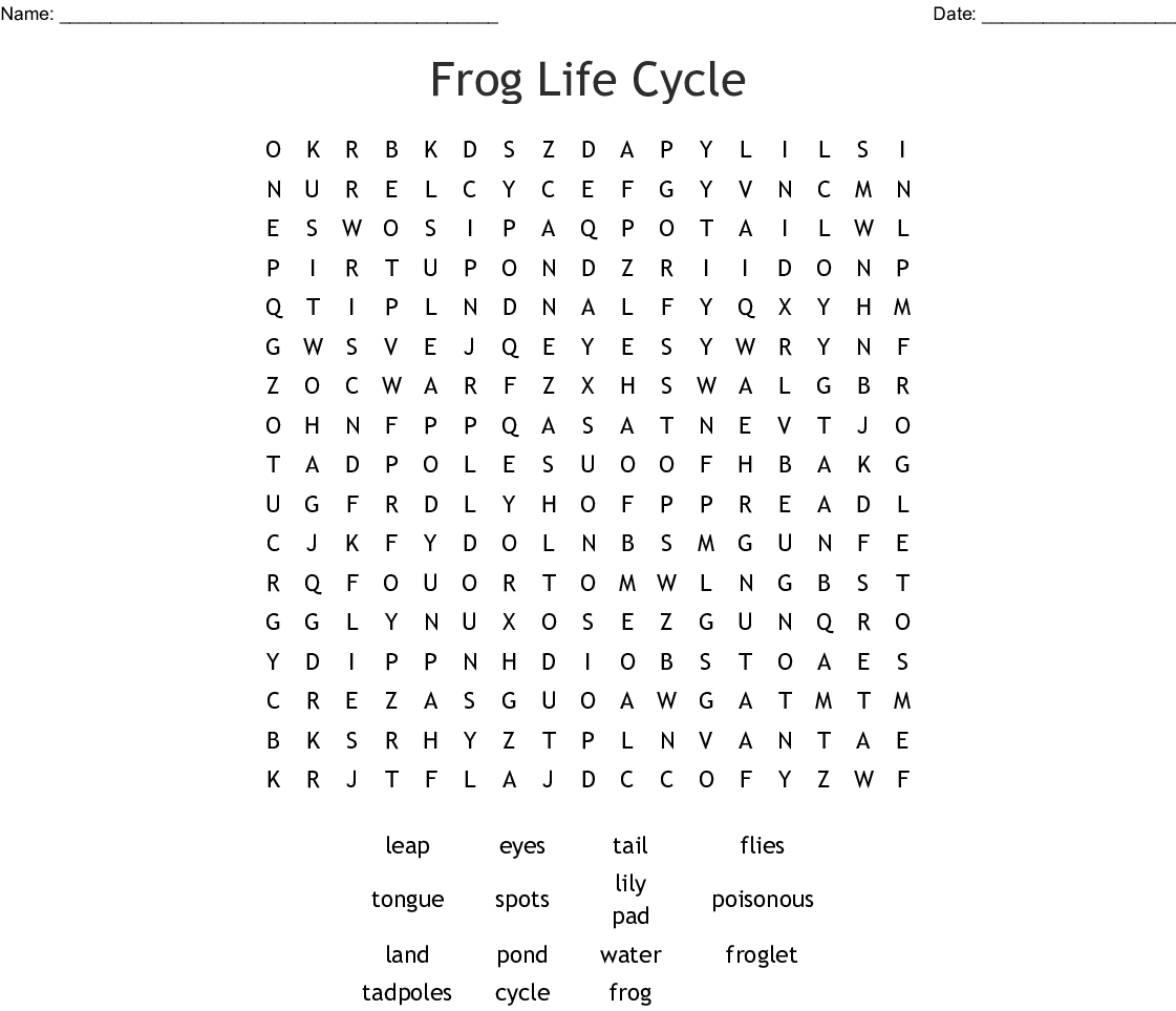 Frog Life Cycle Word Search - Wordmint