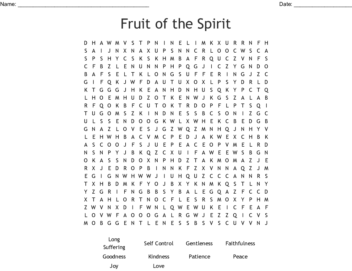 Fruit Of The Spirit Word Search - Wordmint