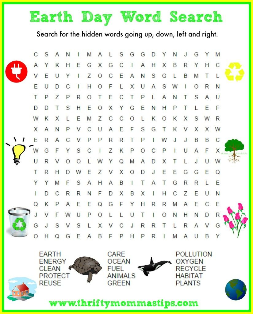 Fun Free Earth Day Word Search   Earth Day Coloring Pages