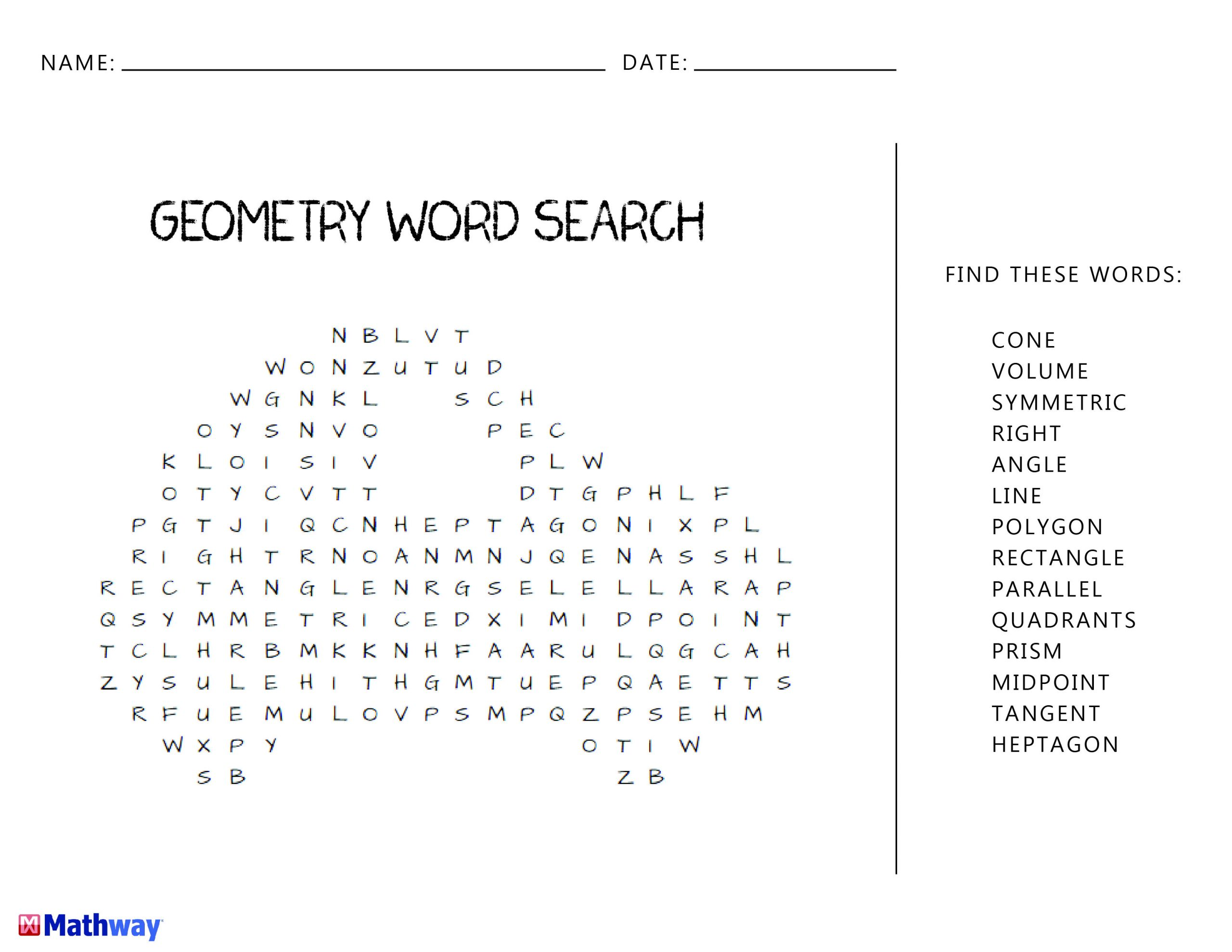 Geometry Word Search. Great For A Warm-Up Activity Or An