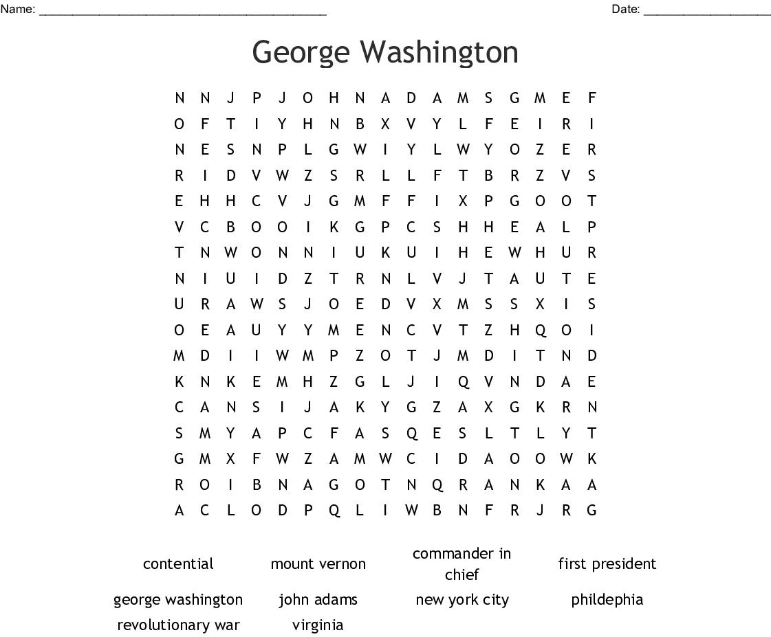 George Washington Word Search - Wordmint