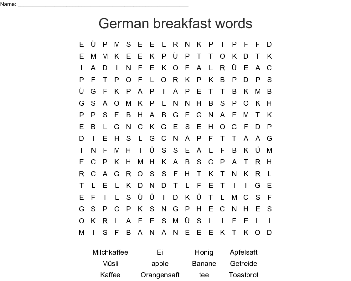 German Breakfast Words Word Search - Wordmint