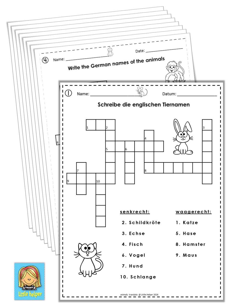 German/english Crossword Puzzles Tiere/animals | German