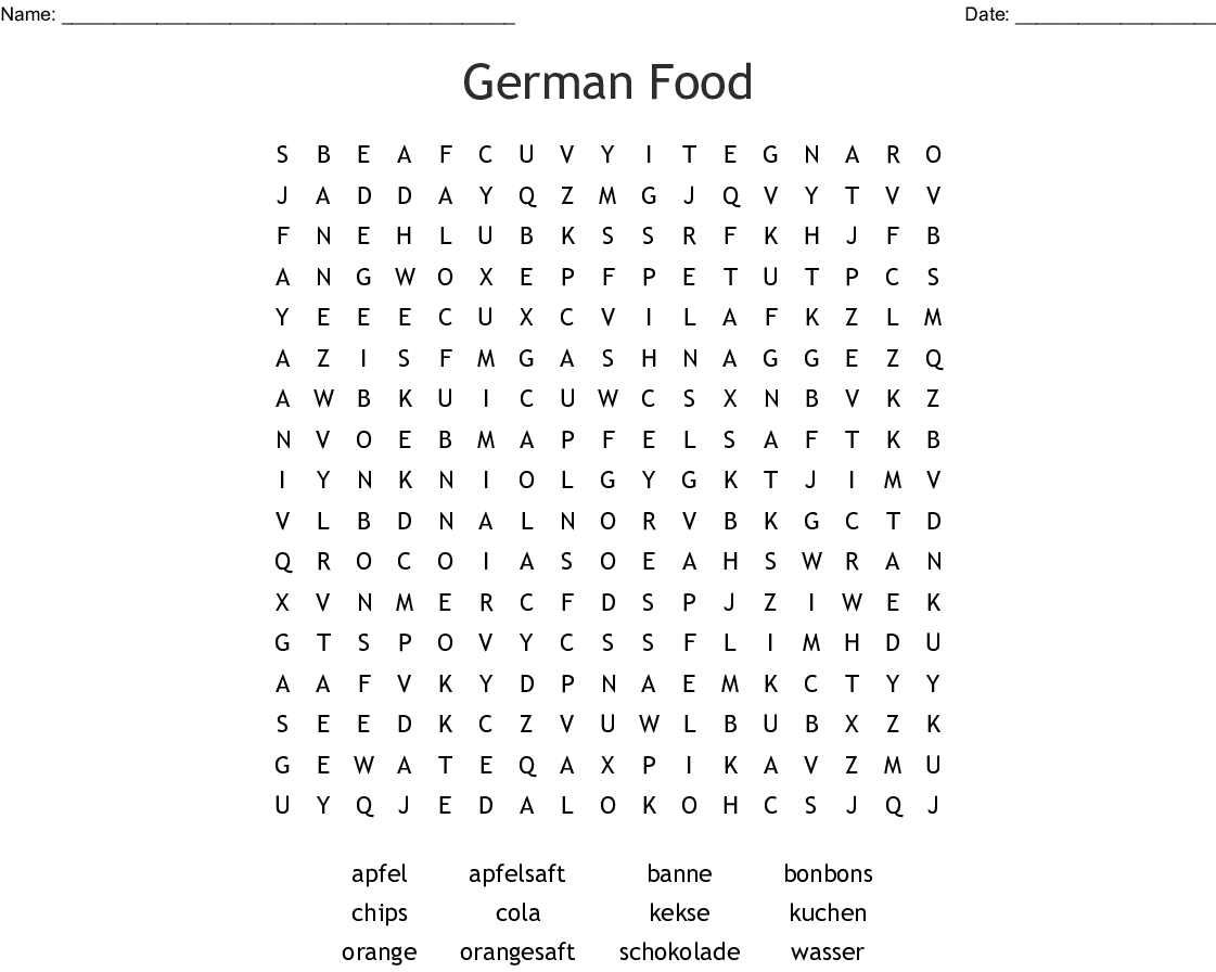 German Food Word Search - Wordmint