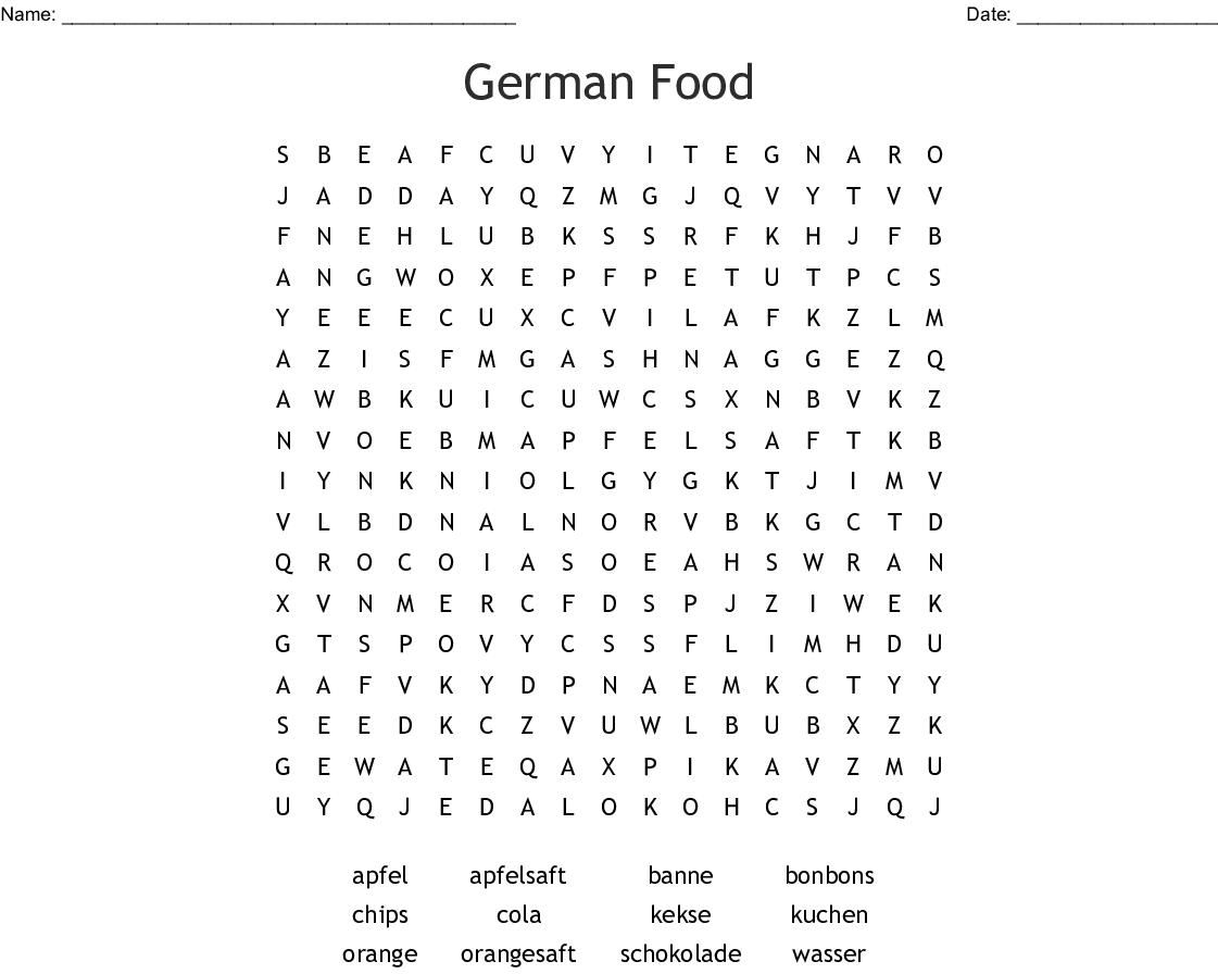 German Food Word Search - Wordmint