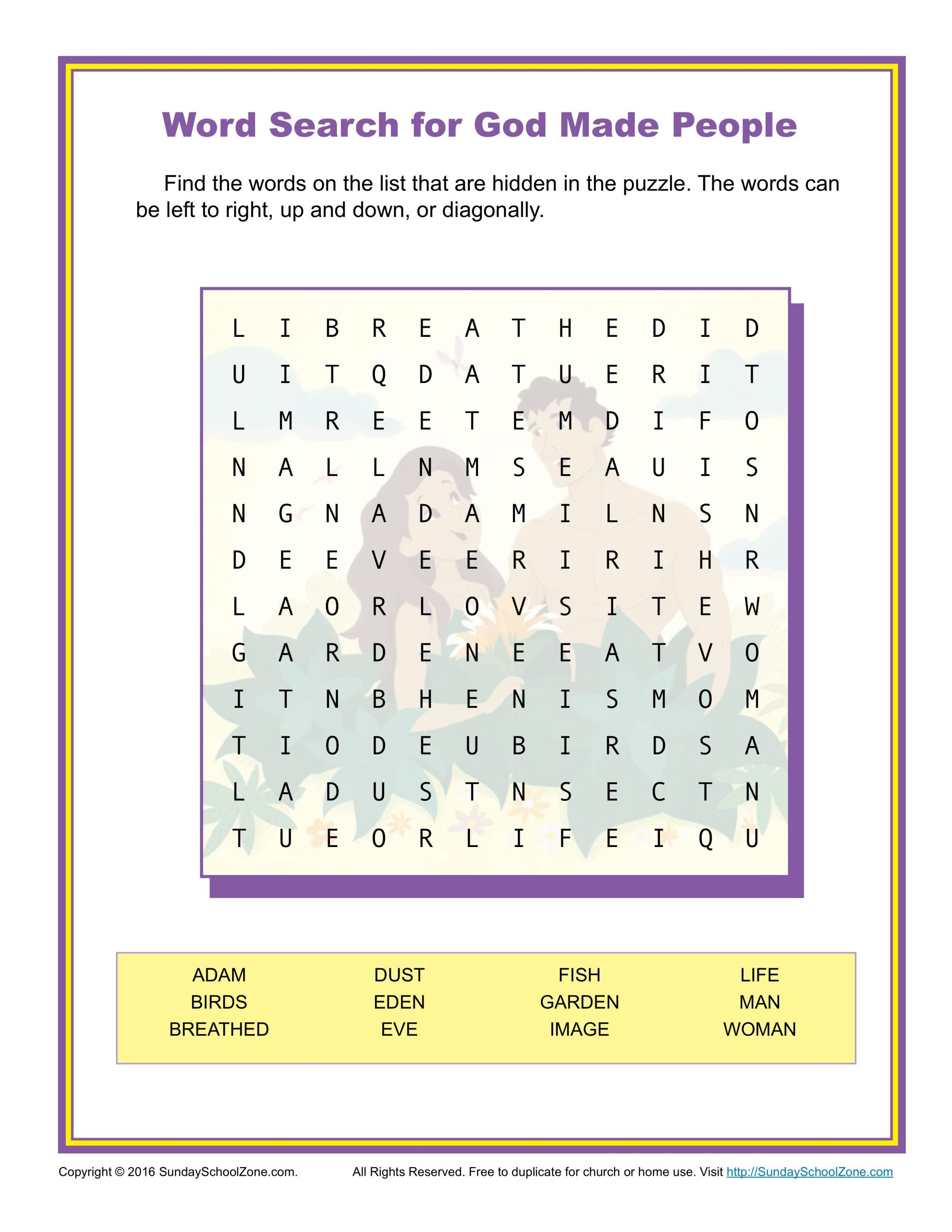God Made People Word Search   Childrens Bible Activities