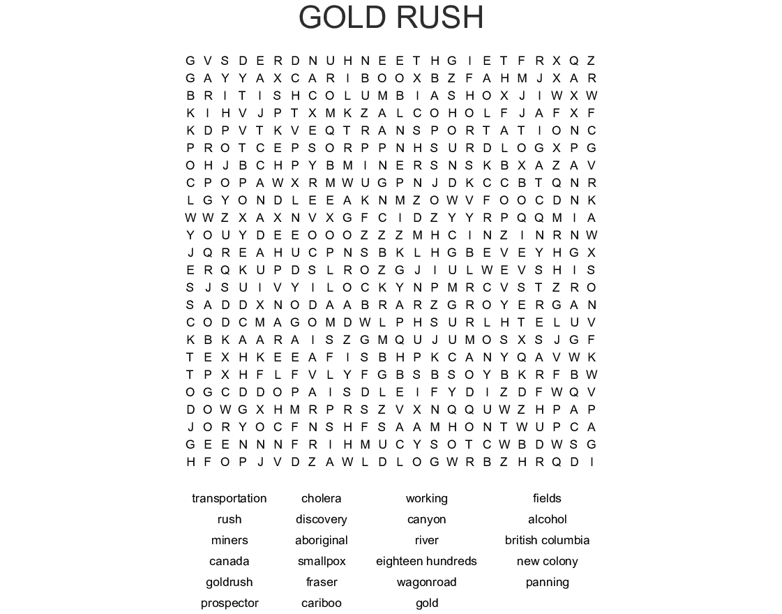 Gold Rush Word Search - Wordmint