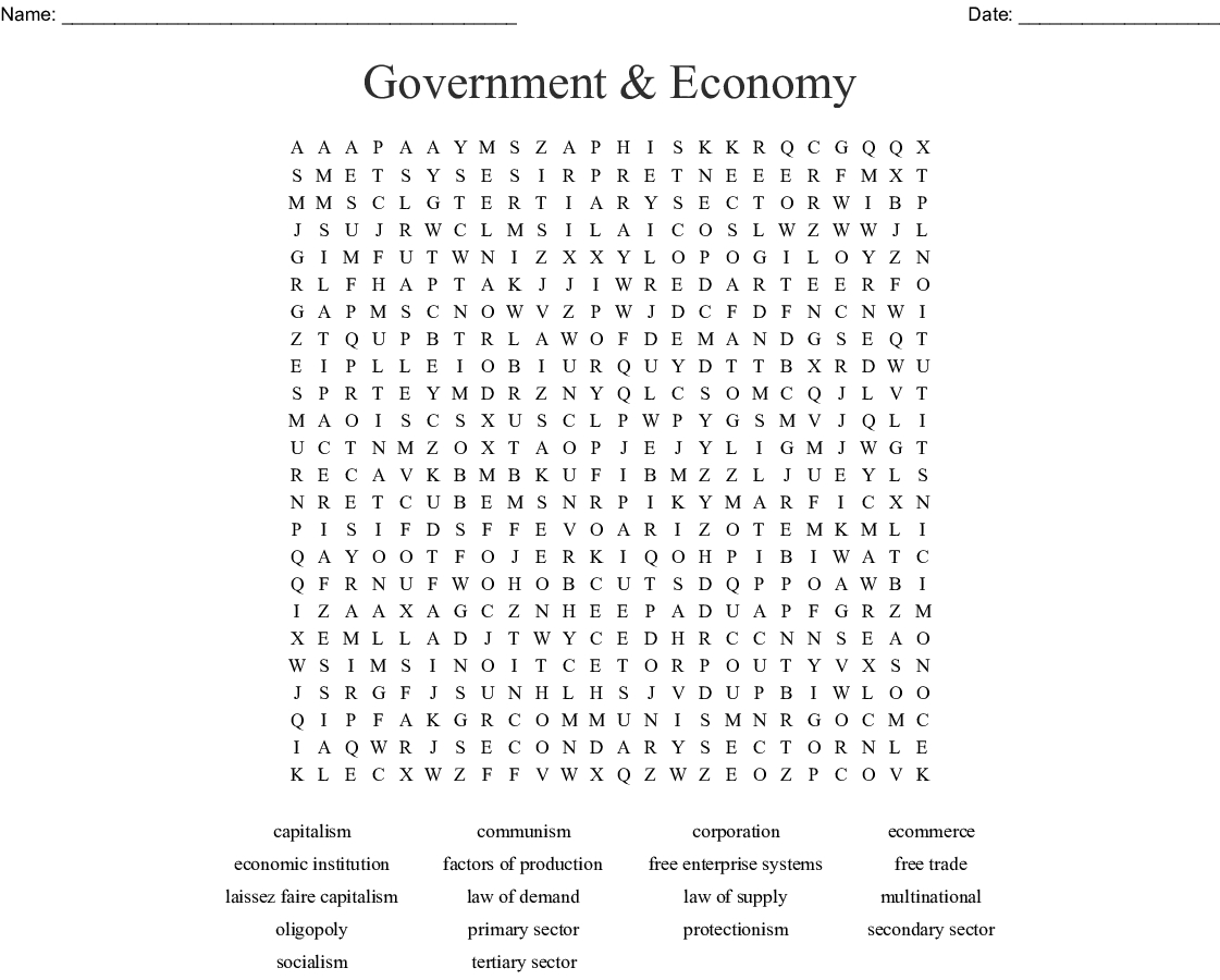 Government & Economy Word Search - Wordmint