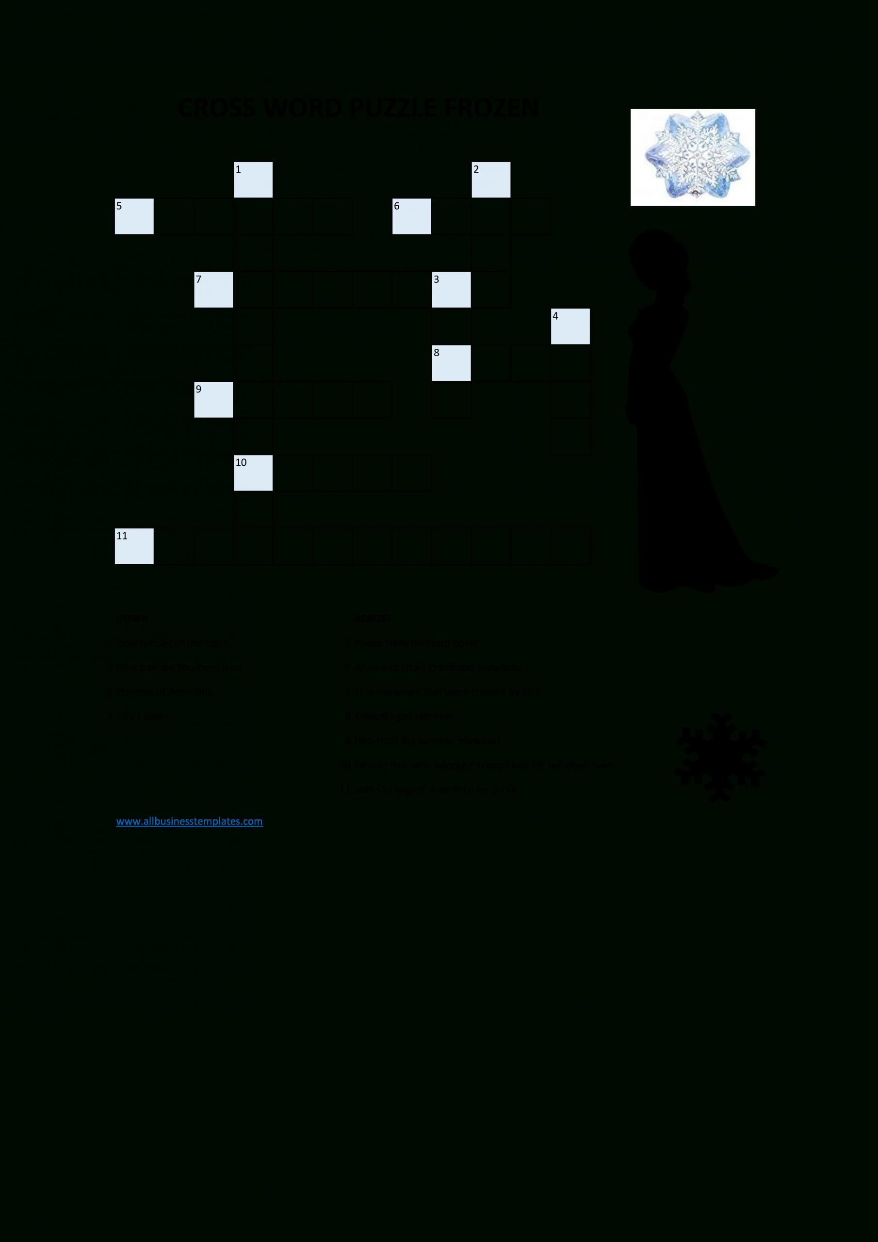 Gratis Bevroren Kruiswoordpuzzel