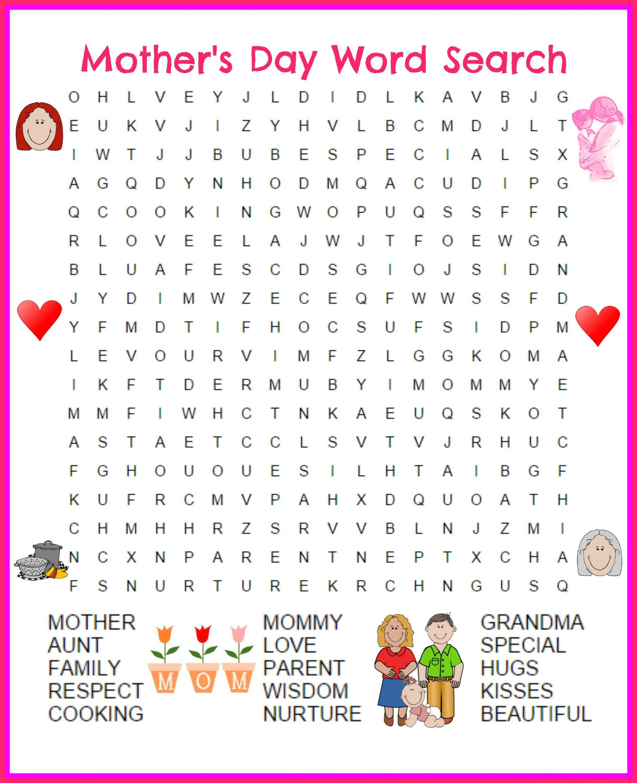 Great Day Word Search Printable | Mothers Day Coloring Pages