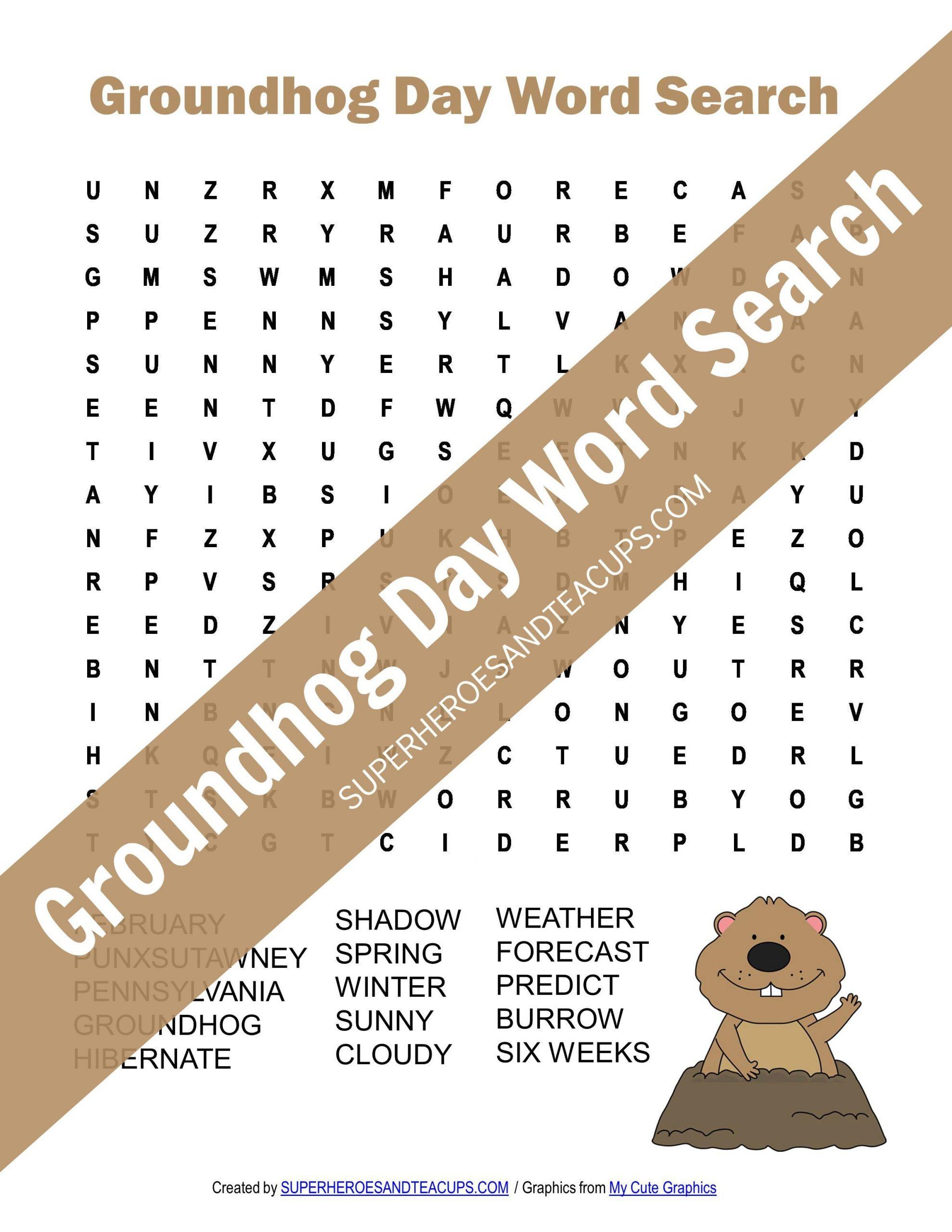 Groundhog Day Word Search Free Printable