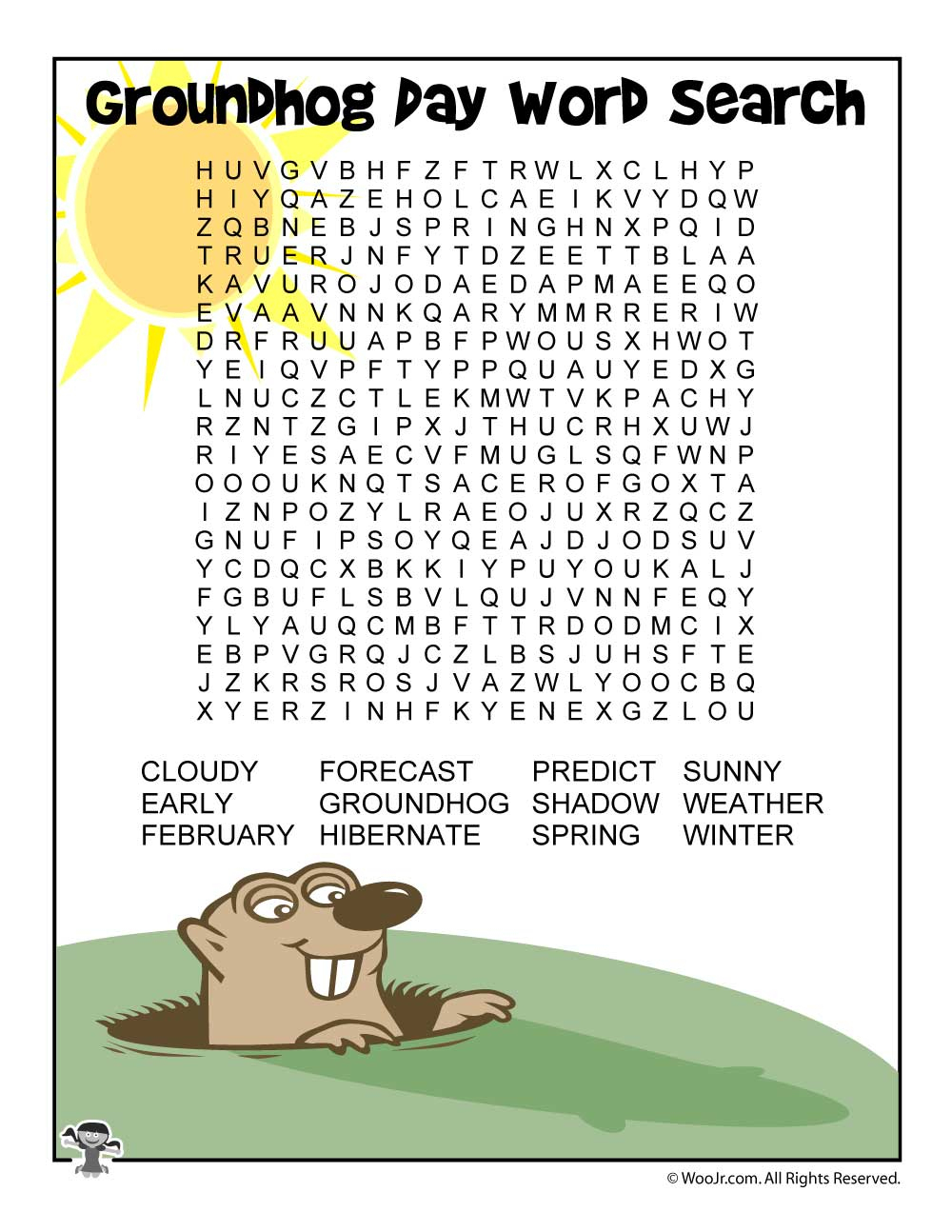 Groundhog Day Word Search | Woo! Jr. Kids Activities