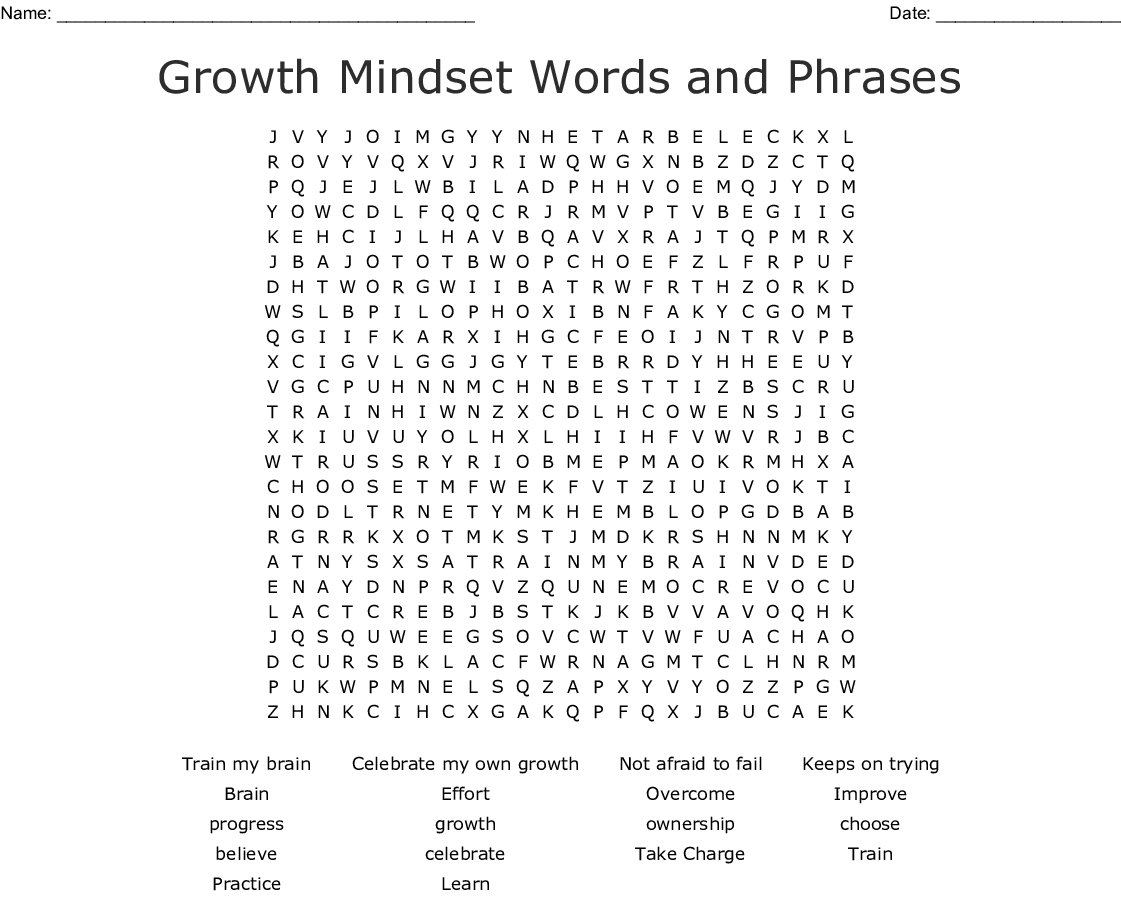 Growth Mindset Words And Phrases Word Search - Wordmint