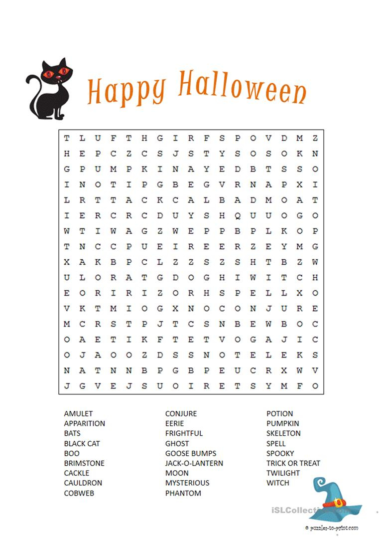Halloween Word Search - English Esl Worksheets For Distance