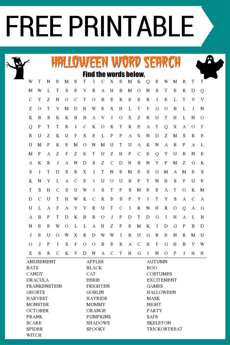Halloween Word Search Printable {Free Download!}   Halloween