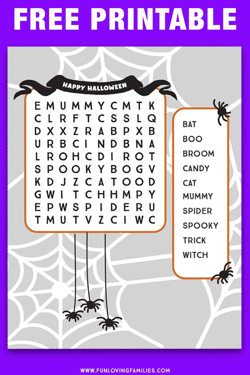 Halloween Word Search Printables | Halloween Word Search