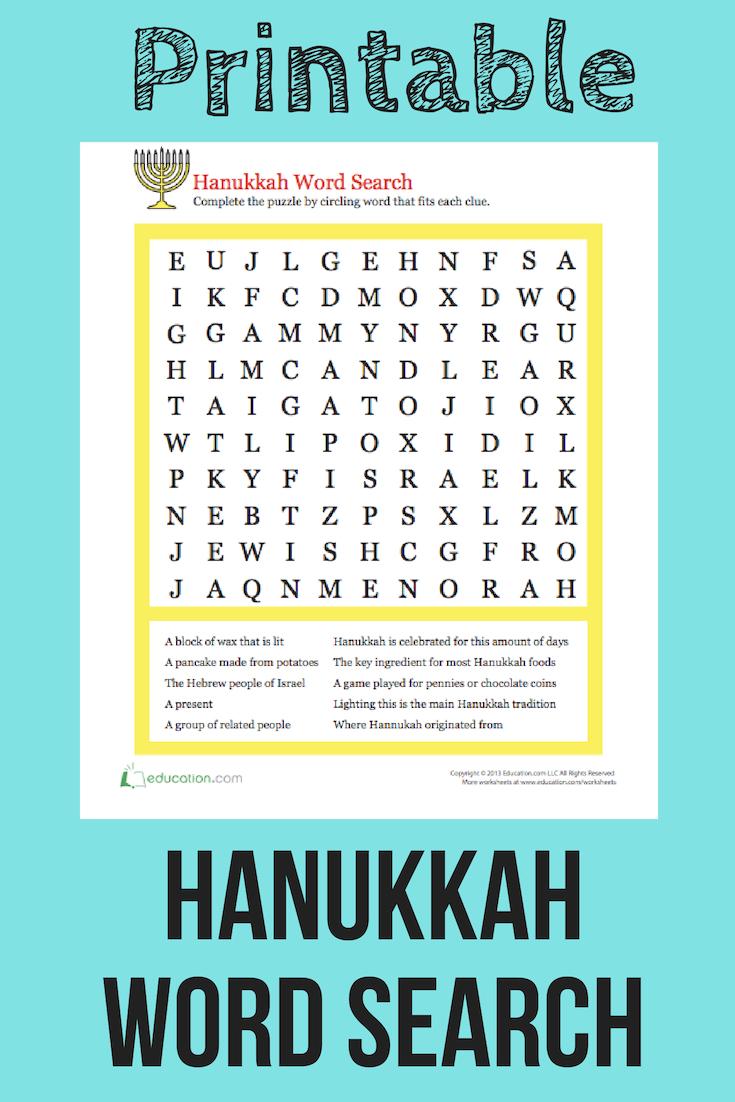 Hanukkah Word Search | Holiday Words, Hanukkah For Kids