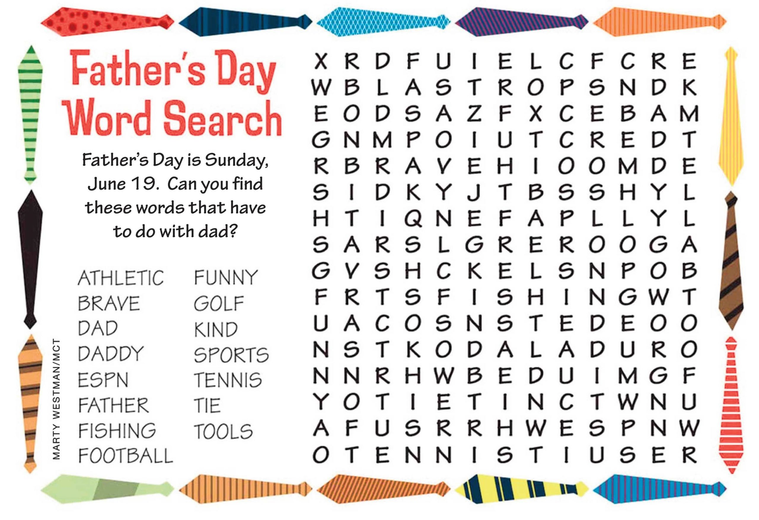 Happy Father's Day Word Search | Kids Word Search, Happy
