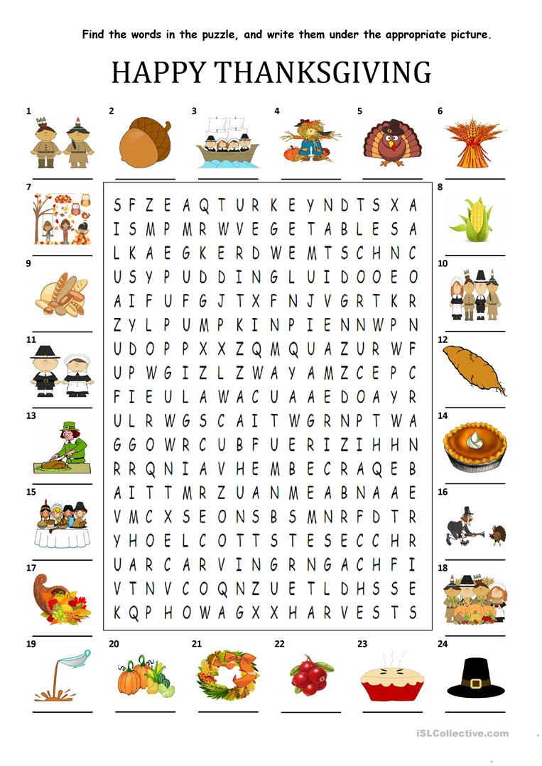 Happy Thanksgiving - Wordsearch Puzzle - English Esl