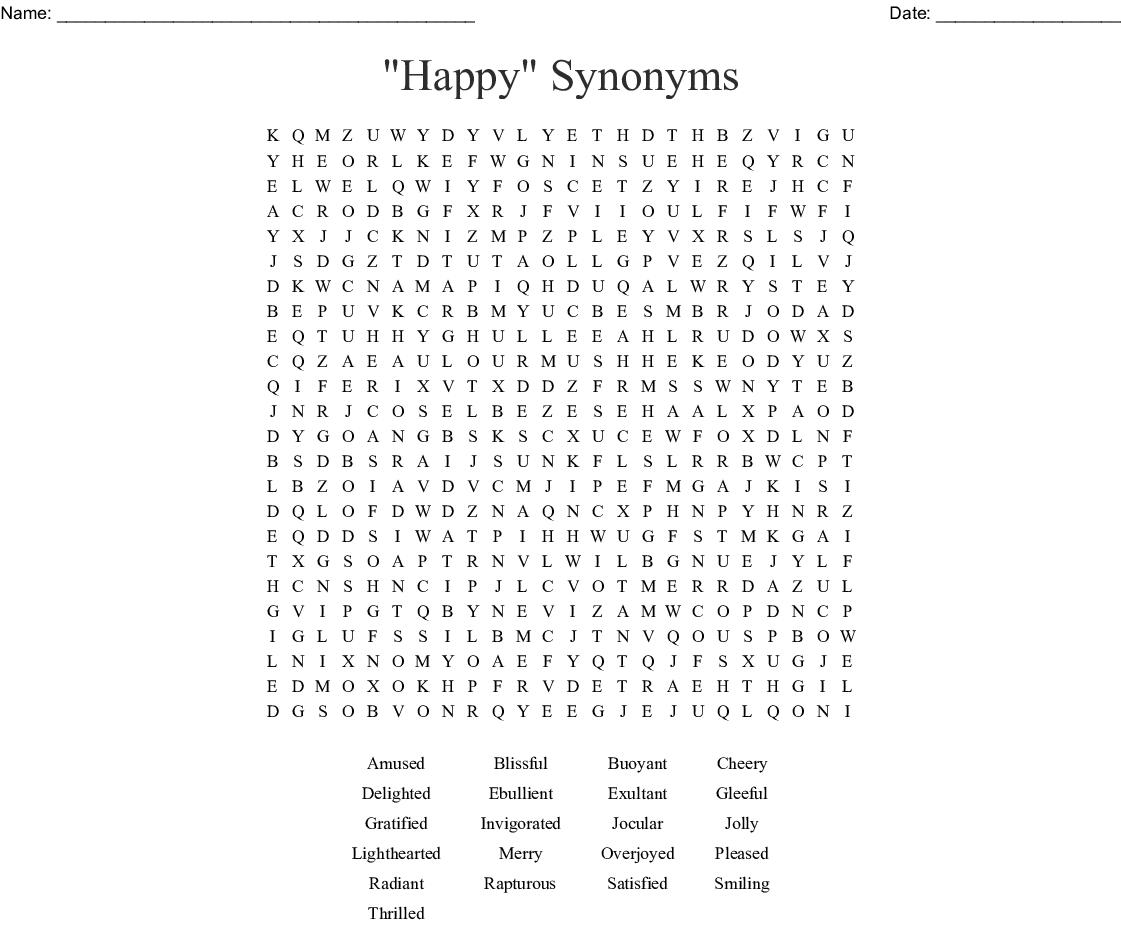 Happy Thoughts Word Search - Wordmint