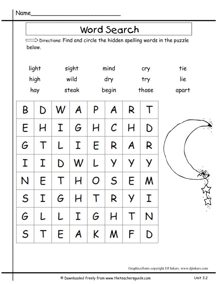 2nd Grade Word Search Puzzles Printable