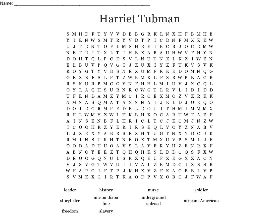 Harriet Tubman Word Search - Wordmint