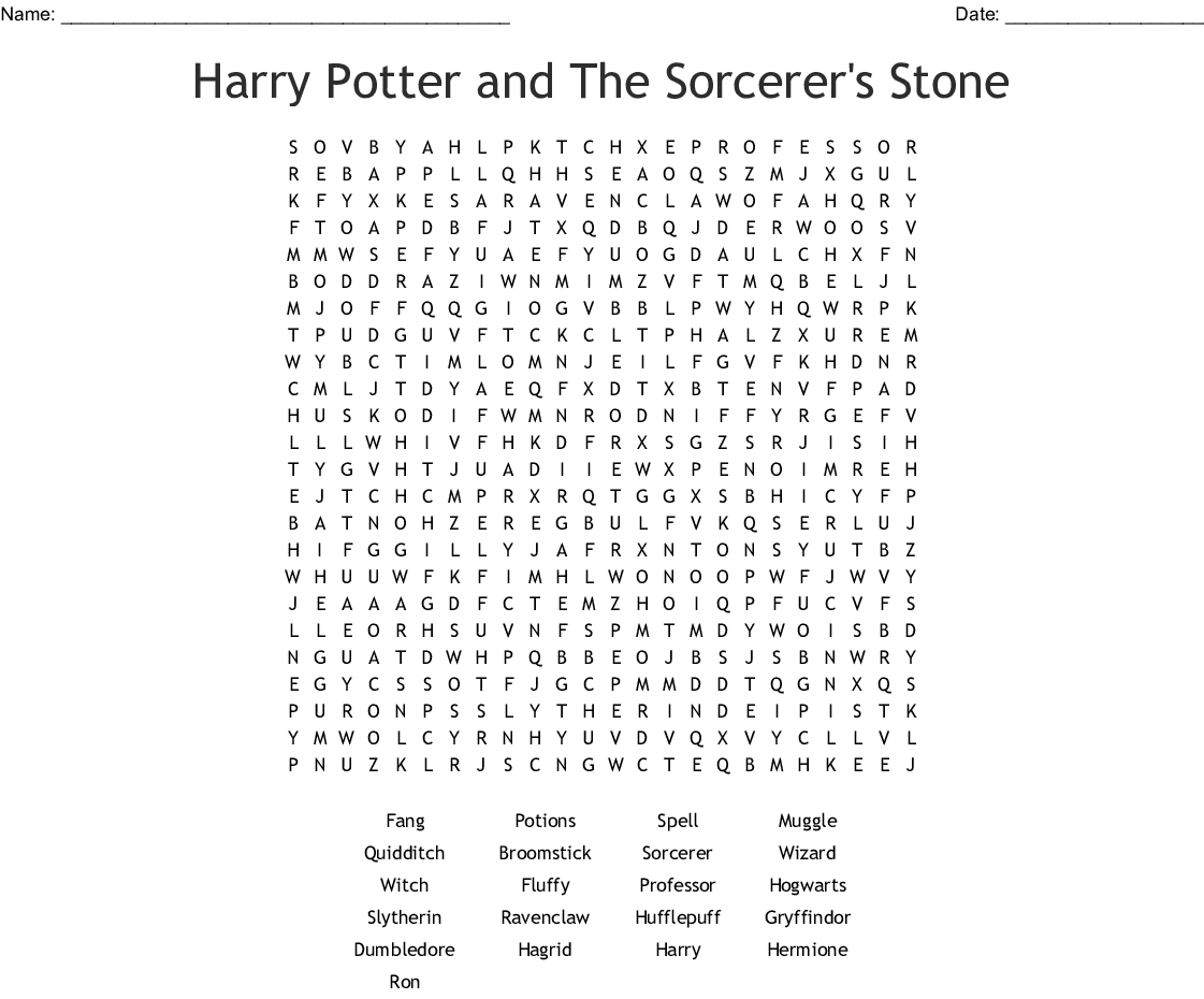 Harry Potter And The Sorcerer's Stone Word Search - Wordmint