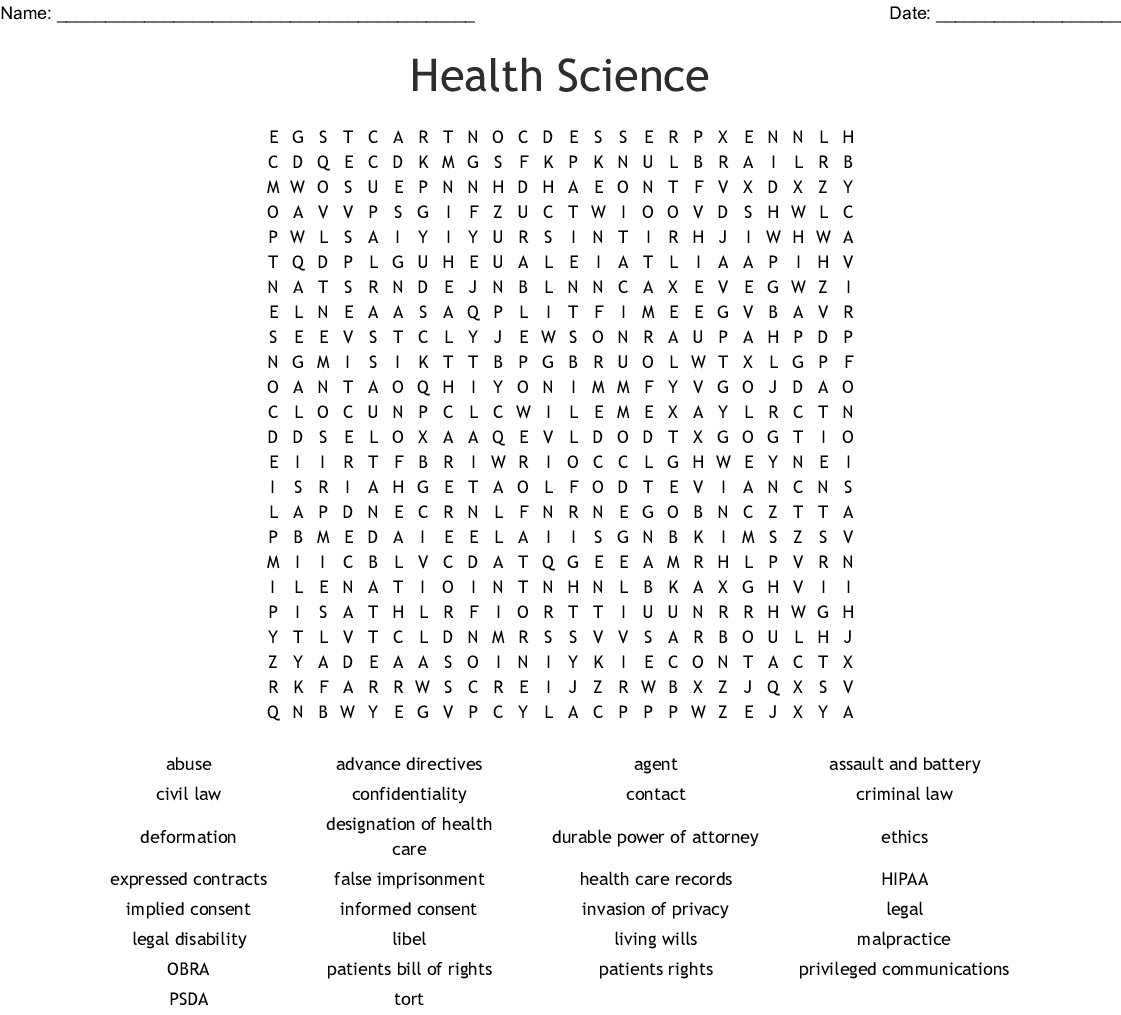 Health Science Word Search - Wordmint