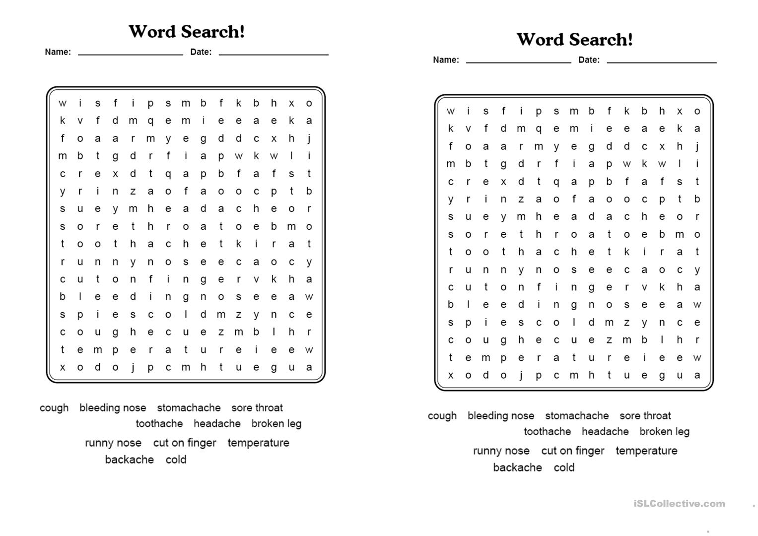 Health. Word Search. - English Esl Worksheets For Distance