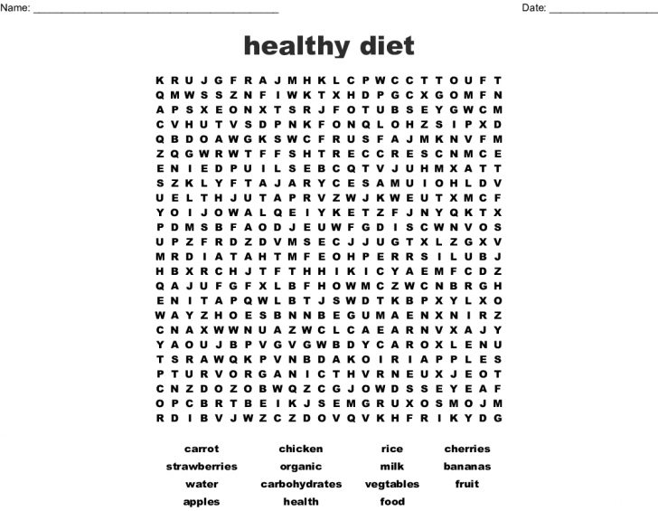 Healthy Eating Word Search Printable