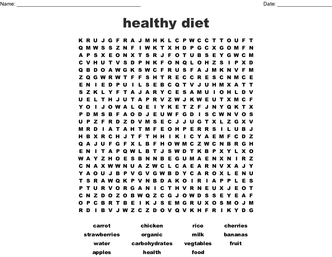 Healthy Diet Word Search - Wordmint