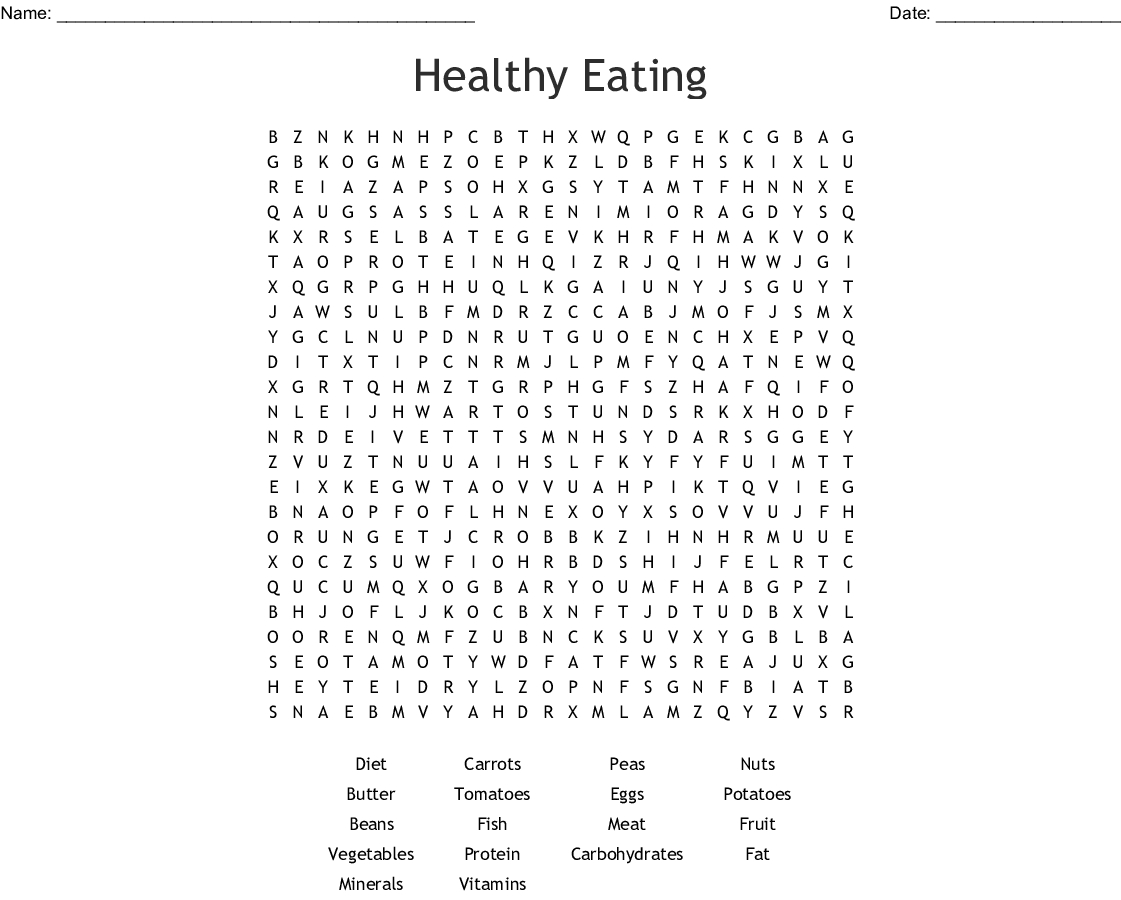 Healthy Eating Word Search - Wordmint