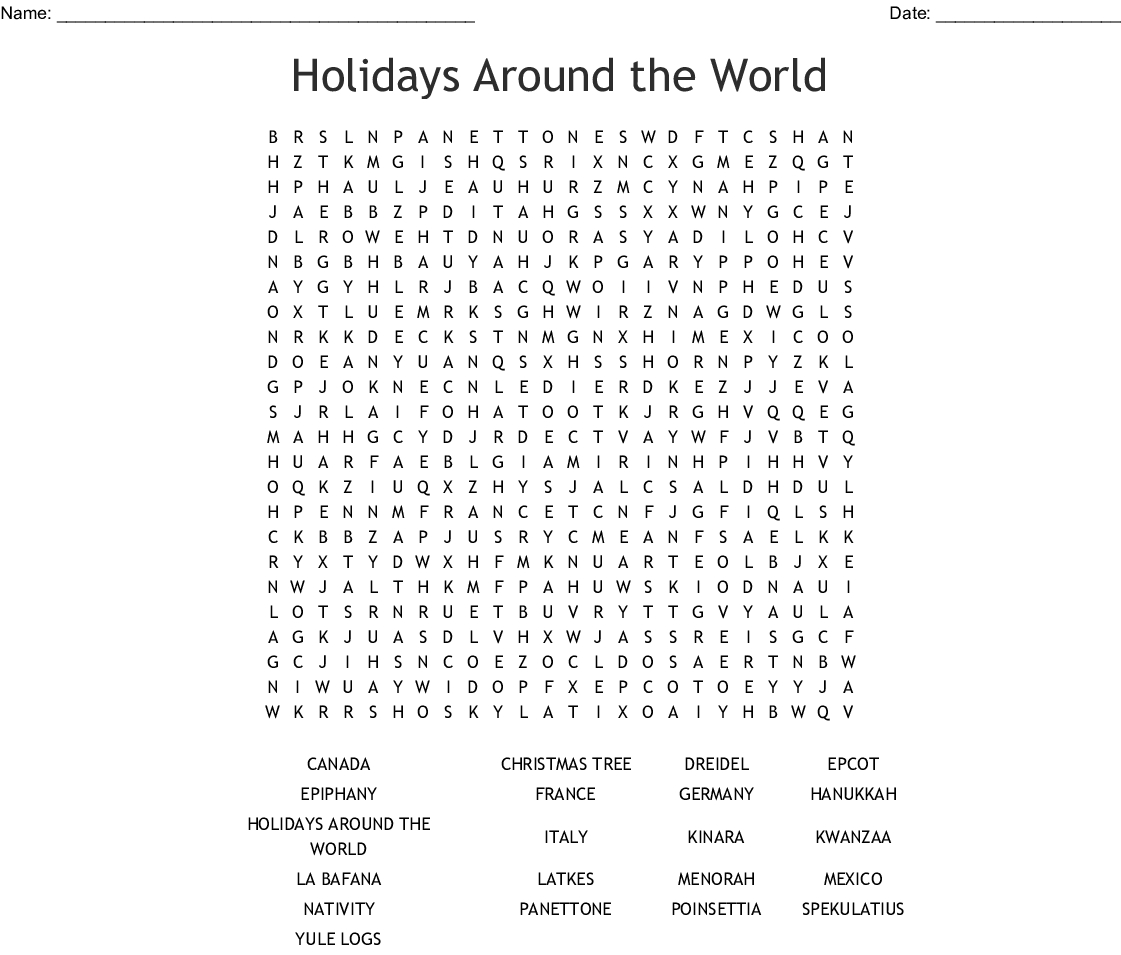 Holidays Around The World Word Search - Wordmint
