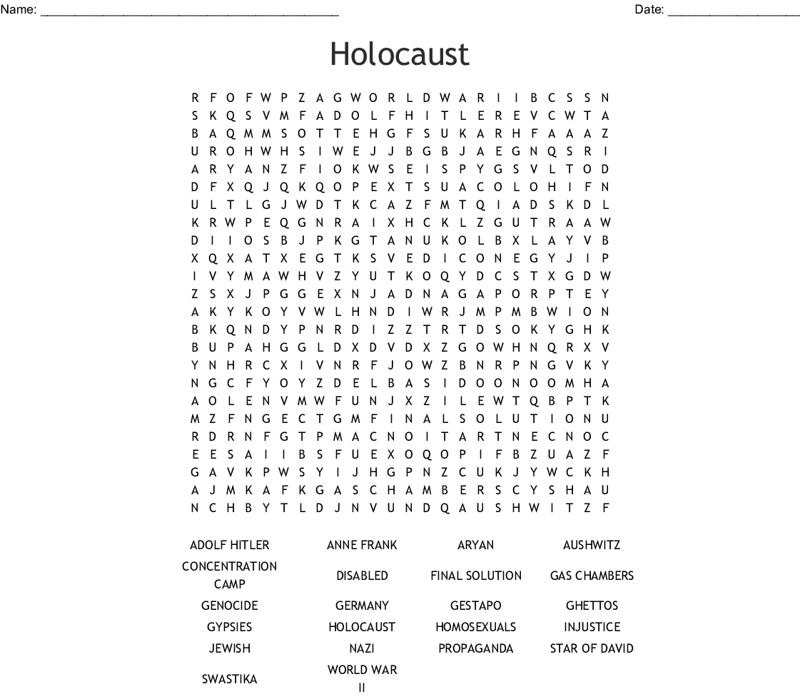 Holocaust Word Search - Wordmint
