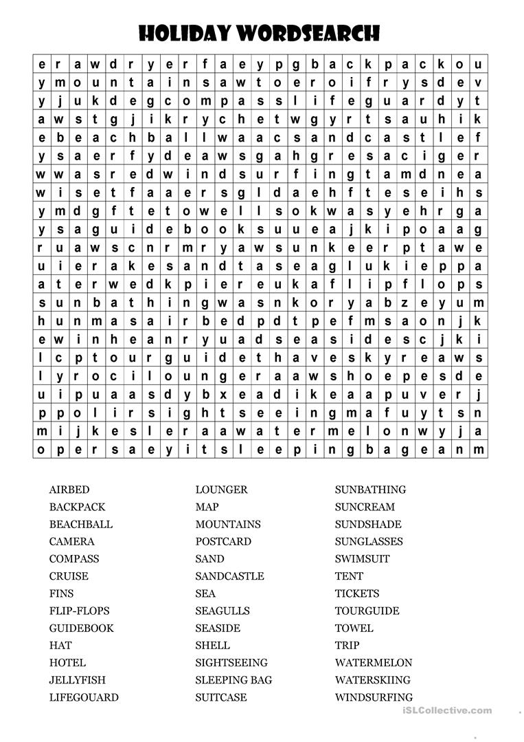 Huge Holiday Wordsearch! - English Esl Worksheets For