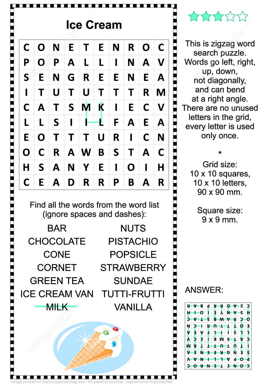 Ice Cream Zigzag Word Search Puzzle | Free Printable Puzzle