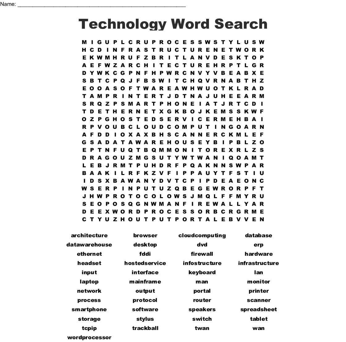 Information Technology Word Search - Wordmint