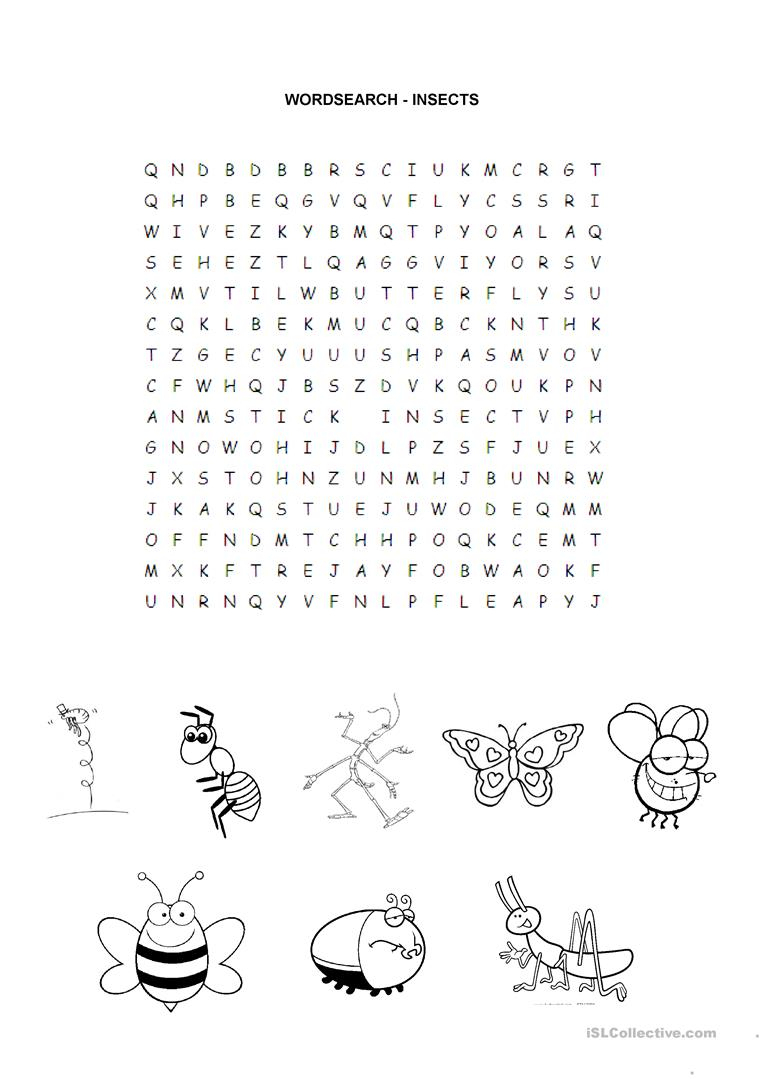 Insects - Wordsearch - English Esl Worksheets For Distance