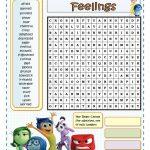 Inside Out Feelings   Wordsearch   English Esl Worksheets