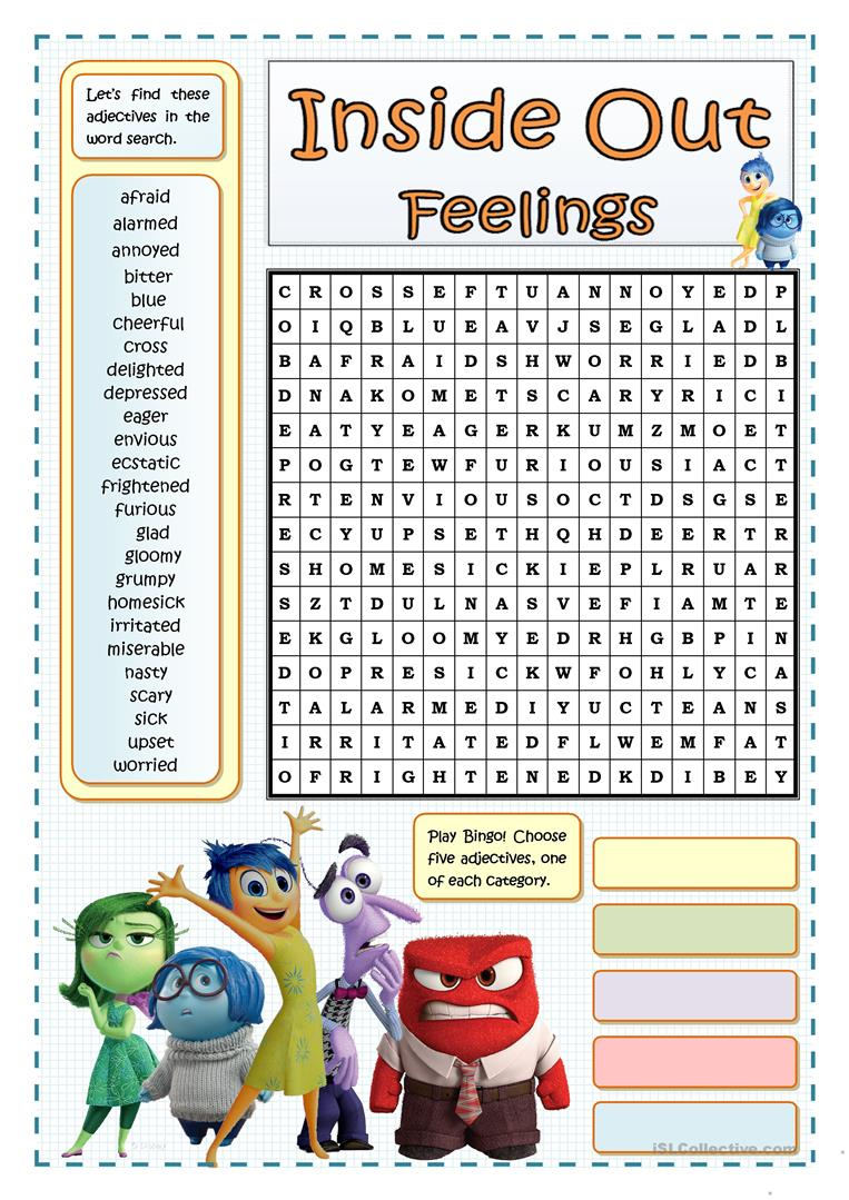 Inside Out Feelings - Wordsearch - English Esl Worksheets