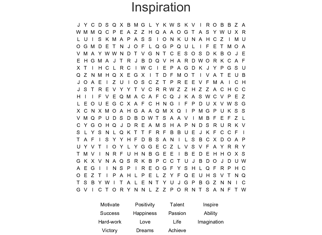 Inspiration Word Search - Wordmint