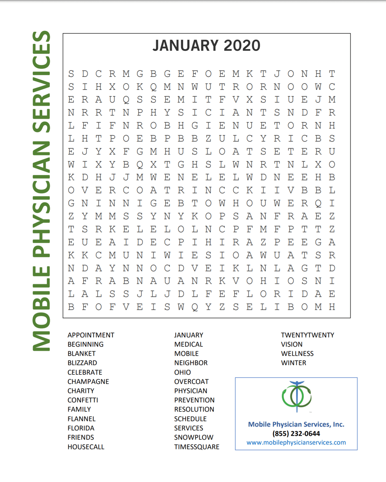 January Word Search | Mobile Physician Services