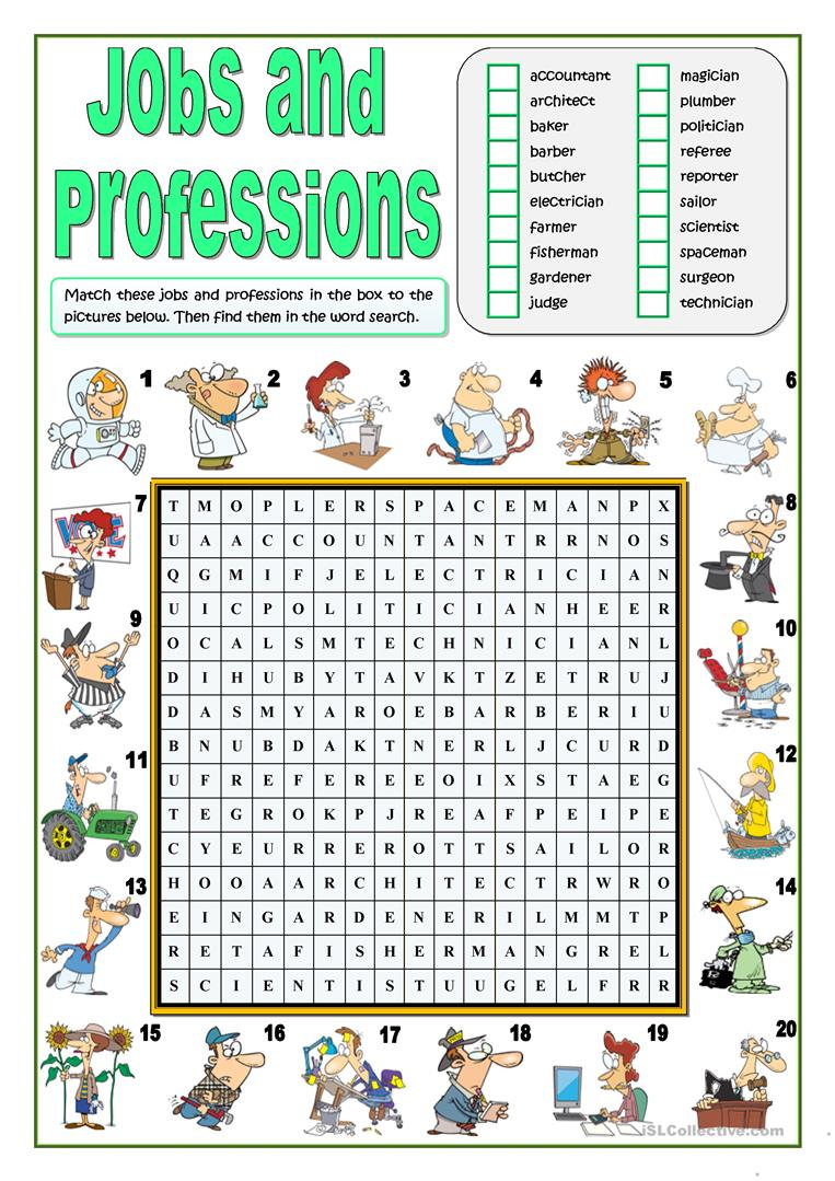 Jobs And Professions Wordsearch - English Esl Worksheets For