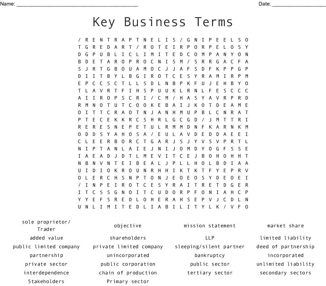 Key Business Terms Word Search - Wordmint