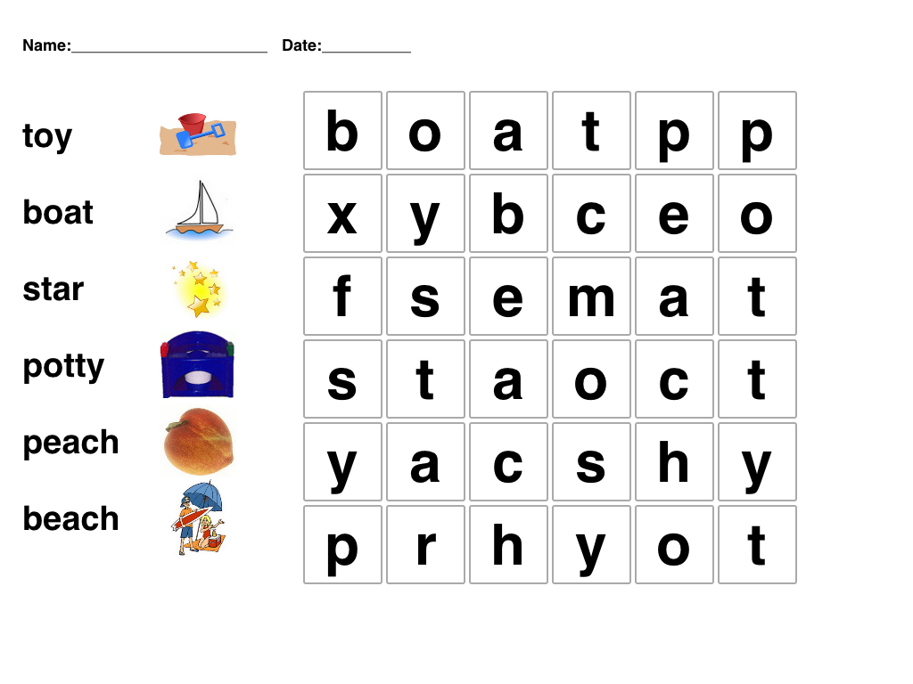 Kindergarten Word Search   Easy Word Searches For