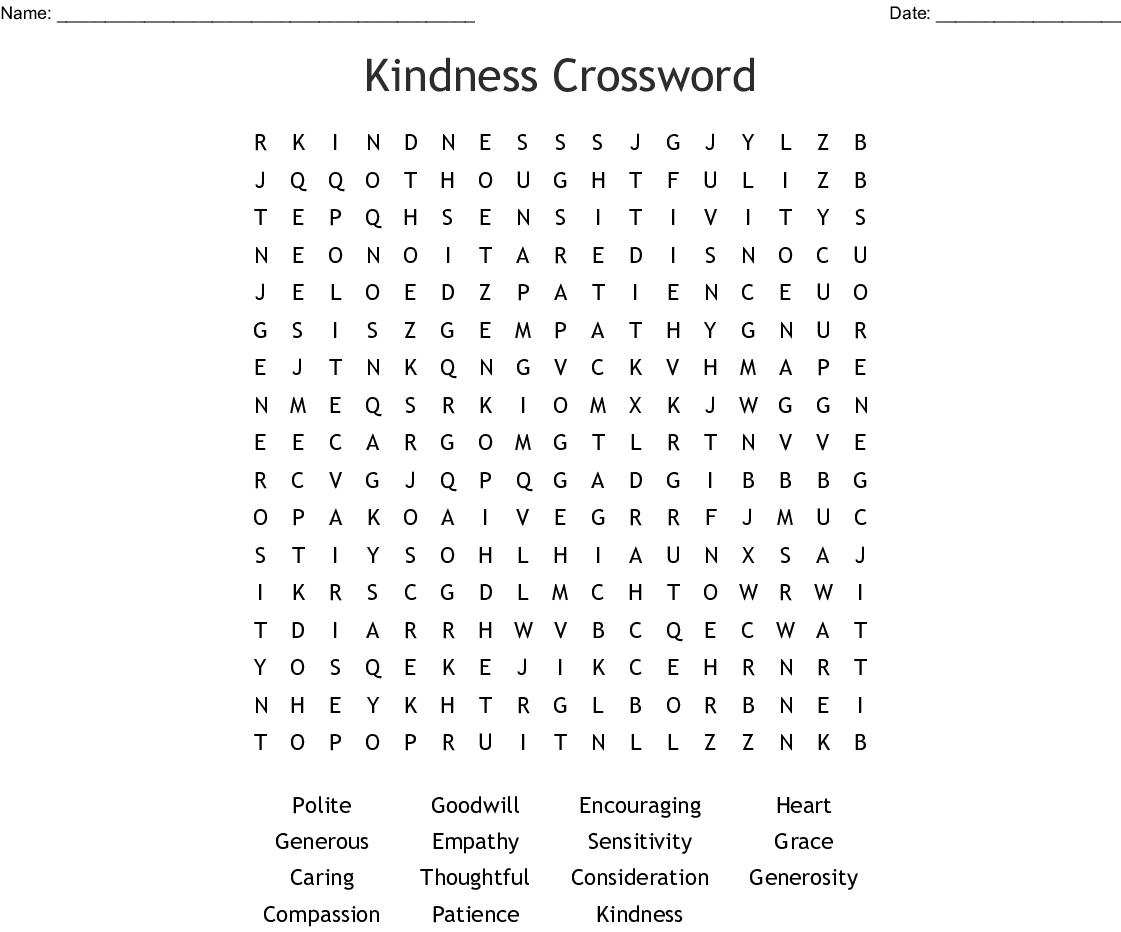Kindness Crossword Word Search - Wordmint