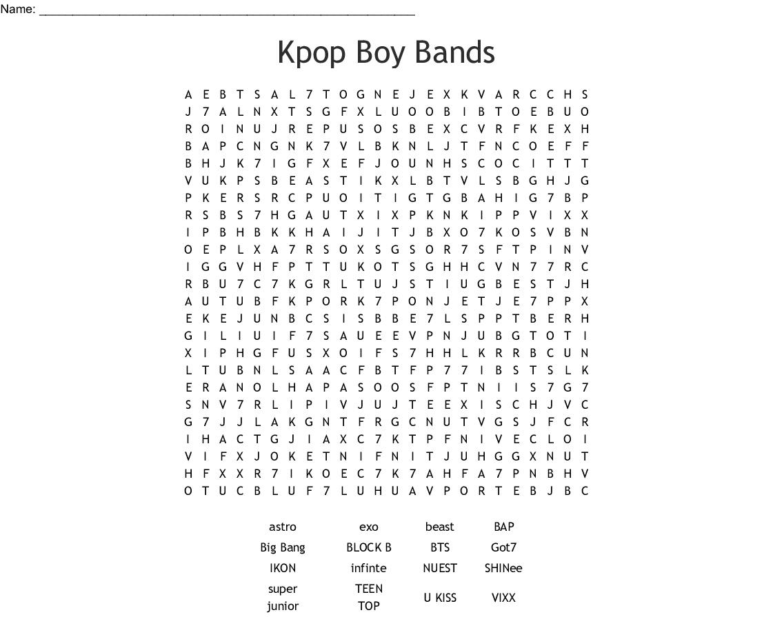 Kpop Boy Bands Word Search - Wordmint