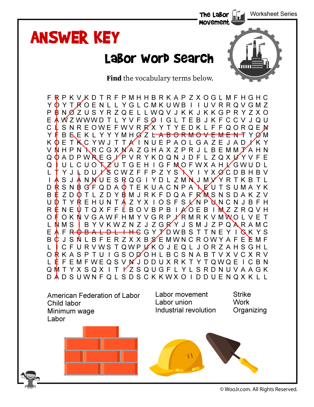 Labor Day Word Search - Answer Key | Woo! Jr. Kids Activities